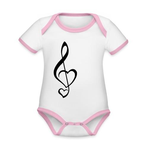 Notenschlüssel schwarz/Music-Lover - Baby Bio-Kurzarm-Kontrastbody
