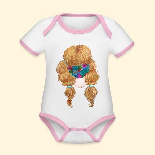 Fille masquée aux succulentes - Body Bébé bio contrasté manches courtes