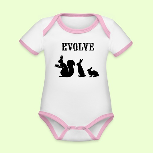 EvolveBunny - Baby contrasterend bio-rompertje met korte mouwen
