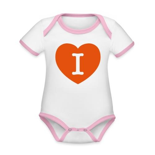 I - LOVE Heart - Organic Baby Contrasting Bodysuit