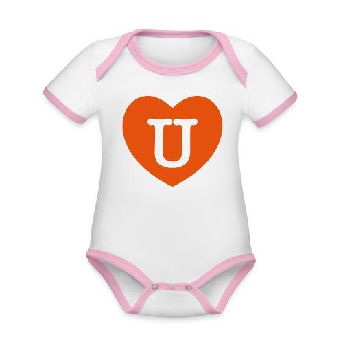 LOVE- U Heart - Organic Baby Contrasting Bodysuit