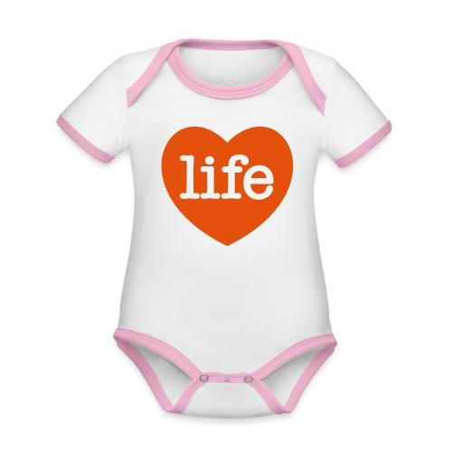 LOVE LIFE heart - Organic Baby Contrasting Bodysuit