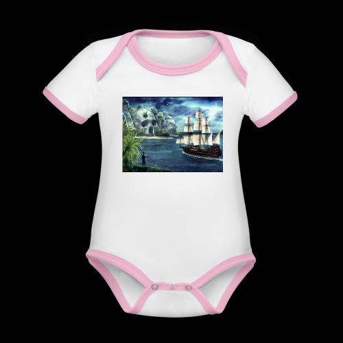 Isola - Body da neonato a manica corta, ecologico e in contrasto cromatico