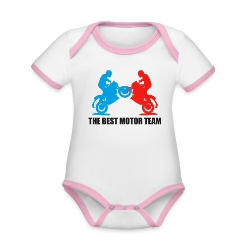 Najlepszy zespół motocyklistów - Ekologiczne body niemowlęce z krótkim rękawem i kontrastowymi lamówkami