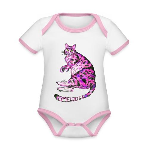 Pink Cat - Baby Bio-Kurzarm-Kontrastbody