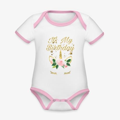 It's My Birthday - Body da neonato a manica corta, ecologico e in contrasto cromatico
