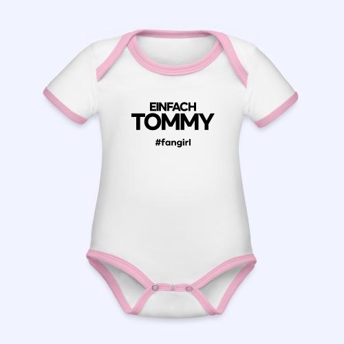 Einfach Tommy / #fangirl / Black Font - Baby Bio-Kurzarm-Kontrastbody