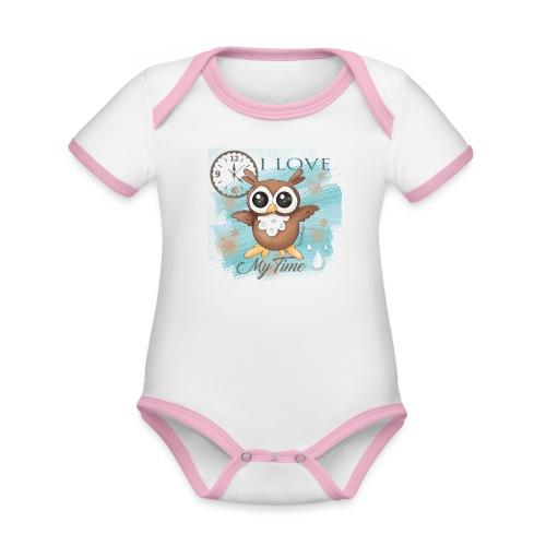 GUFO-E-TEMPO - Body da neonato a manica corta, ecologico e in contrasto cromatico