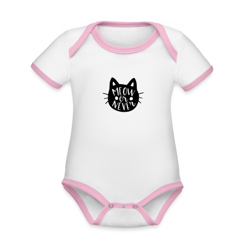 Cat Sayings: Meow or Never - Organic Baby Contrasting Bodysuit