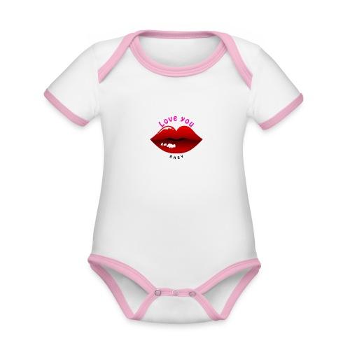 Love you - Baby Bio-Kurzarm-Kontrastbody