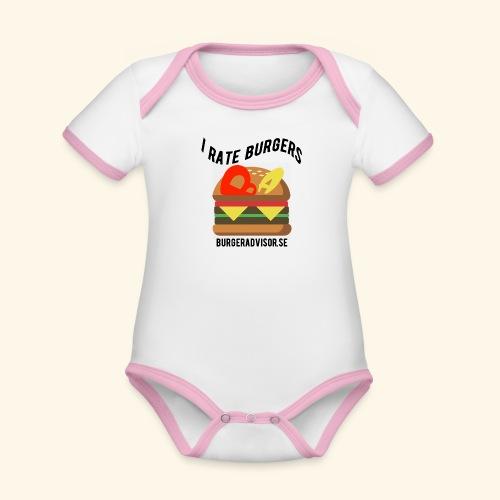 I Rate Burgers logo dark - Organic Baby Contrasting Bodysuit