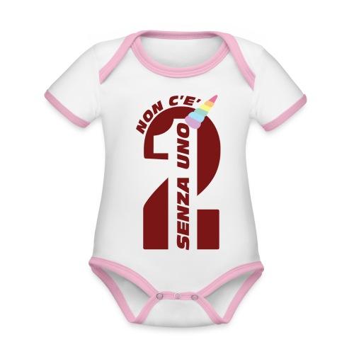 Logo nonceduesenzauno - Body da neonato a manica corta, ecologico e in contrasto cromatico