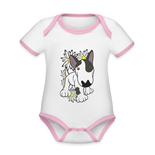 Bull Terrier Pup Daisies - Organic Baby Contrasting Bodysuit