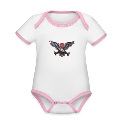 Aquila - Body da neonato a manica corta, ecologico e in contrasto cromatico
