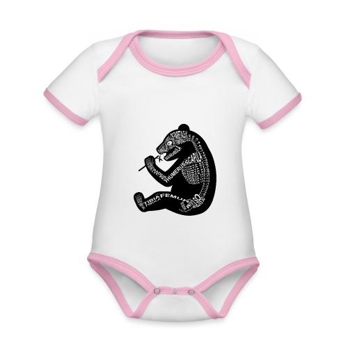 Panda skelet - Baby contrasterend bio-rompertje met korte mouwen