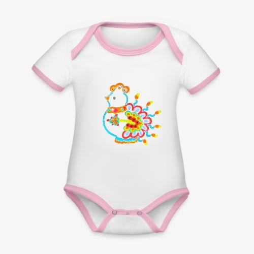 Vogel neon bunt - Baby Bio-Kurzarm-Kontrastbody