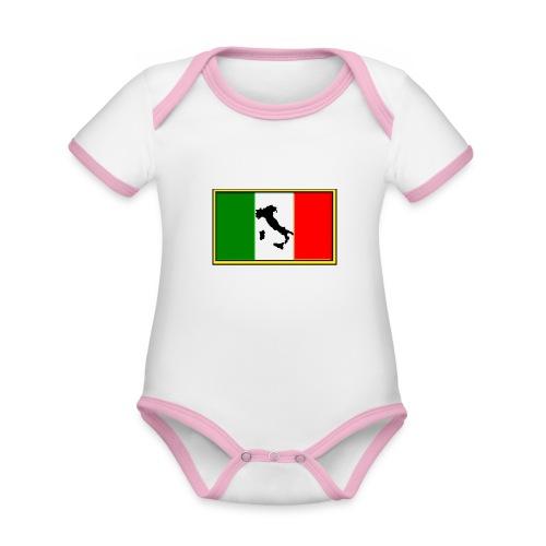Bandiera Italiana2 - Body da neonato a manica corta, ecologico e in contrasto cromatico