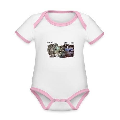 gas mask 2 black - Baby Bio-Kurzarm-Kontrastbody
