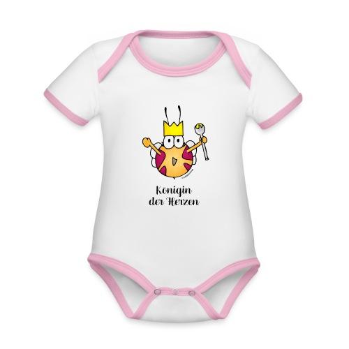 Königin der Herzen - Baby Bio-Kurzarm-Kontrastbody