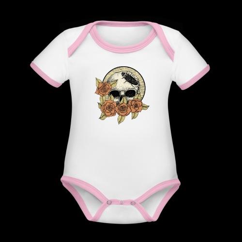 Rose et tête de mort - Body Bébé bio contrasté manches courtes