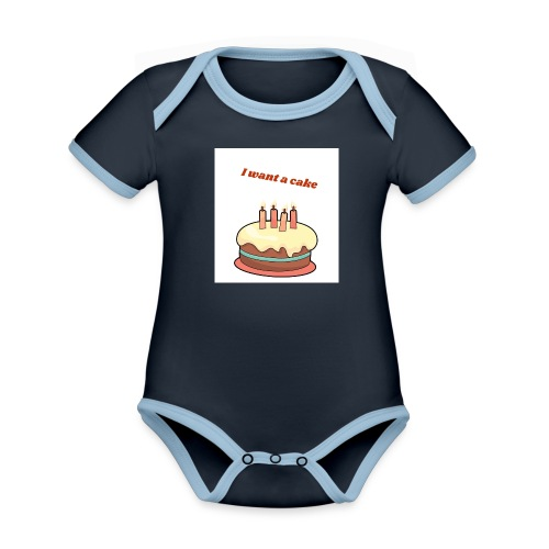 I want a cake - Ekologisk kontrastfärgad kortärmad babybody