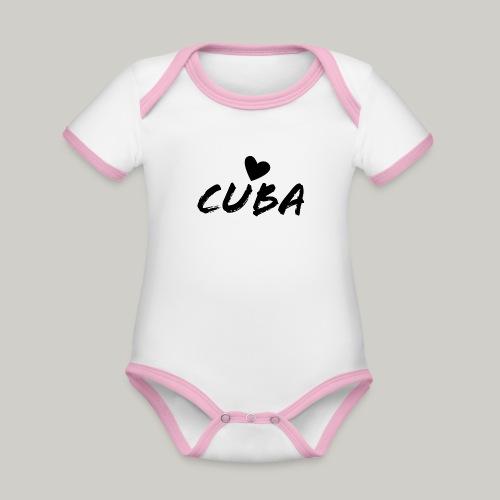 Cuba Herz - Baby Bio-Kurzarm-Kontrastbody