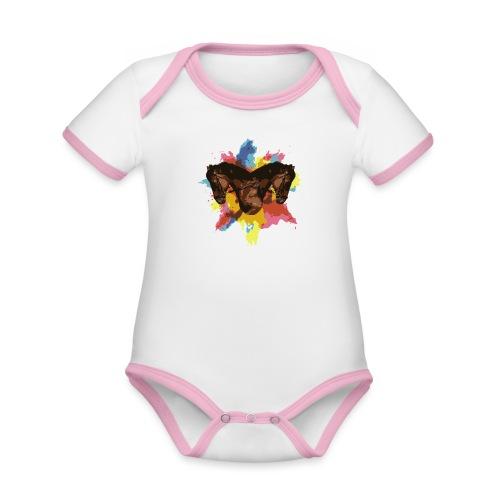 Cheval coloré - Body Bébé bio contrasté manches courtes