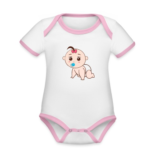 Liegendes Baby - Baby Bio-Kurzarm-Kontrastbody