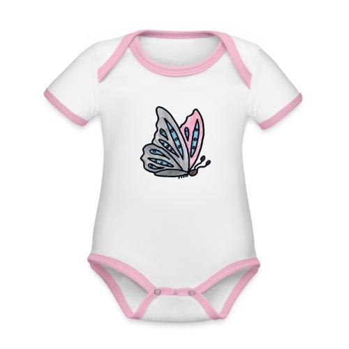 Fjäril - Ekologisk kontrastfärgad kortärmad babybody