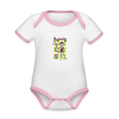 Pantherilly - Beat - Body da neonato a manica corta, ecologico e in contrasto cromatico