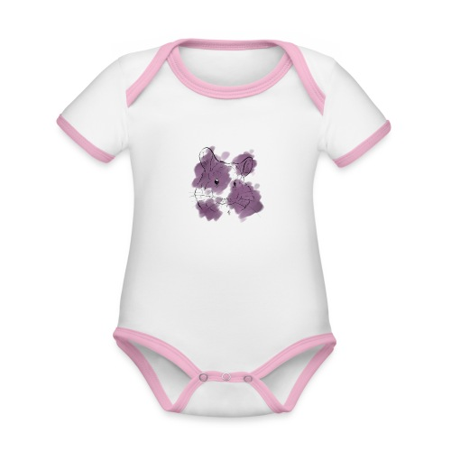 Violet splash chinchilla - Vauvan kontrastivärinen, lyhythihainen luomu-body