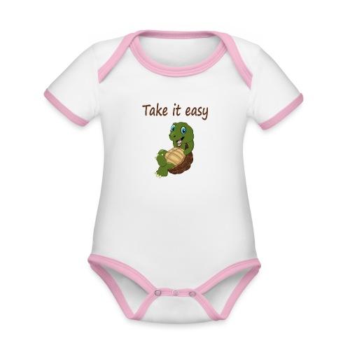 Take it easy met rustige schildpad - Baby contrasterend bio-rompertje met korte mouwen