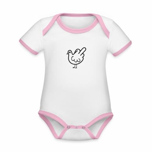 Huhn mit Mittelfinger - Baby Bio-Kurzarm-Kontrastbody