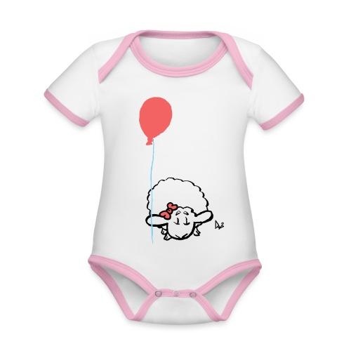 Baby Lamb z balonikiem (różowy) - Ekologiczne body niemowlęce z krótkim rękawem i kontrastowymi lamówkami