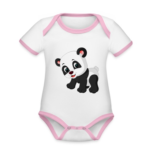 Panda Mignon - Body Bébé bio contrasté manches courtes