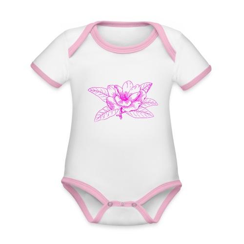 Camisetas y accesorios de flor color rosada - Body contraste para bebé de tejido orgánico