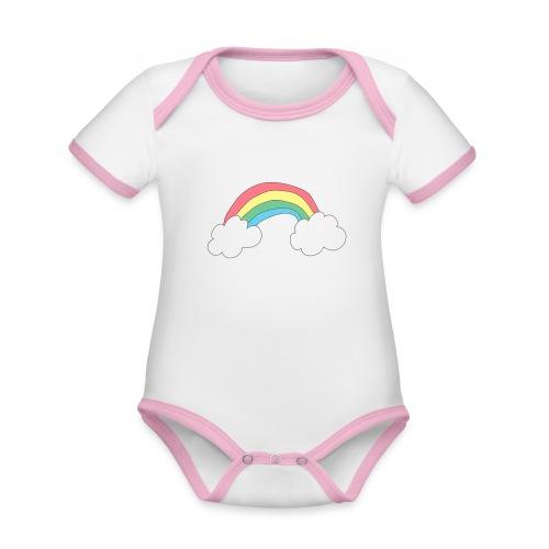 Regnbue - børnetegning - Kortærmet økologisk babybody i kontrastfarver