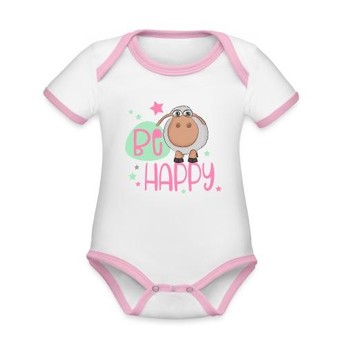 Be happy Schaf - Glückliches Schaf - Glücksschaf - Baby Bio-Kurzarm-Kontrastbody