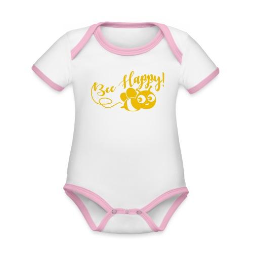 bee happy geel - Baby contrasterend bio-rompertje met korte mouwen