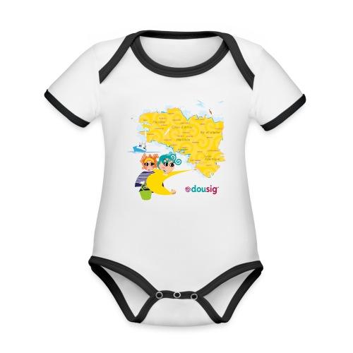 Carte de la Bretagne Dousig - Body Bébé bio contrasté manches courtes