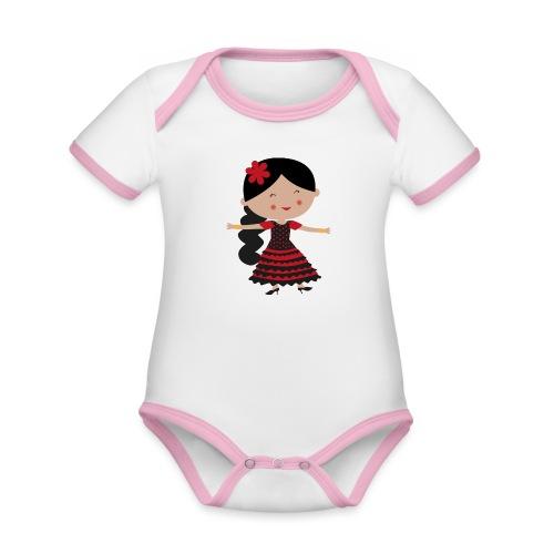 Happy Meitlis - Spanien - Baby Bio-Kurzarm-Kontrastbody