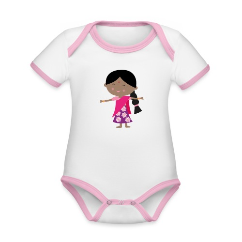 Happy Meitlis - Indien - Baby Bio-Kurzarm-Kontrastbody