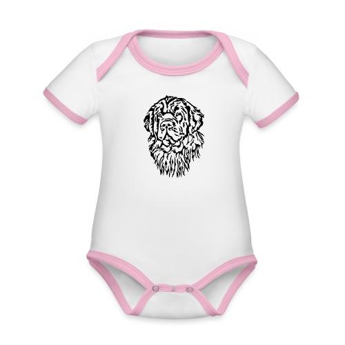 Neufundländer Kopf - Baby Bio-Kurzarm-Kontrastbody