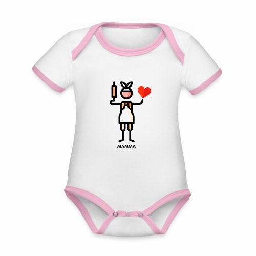 Maman - Body Bébé bio contrasté manches courtes