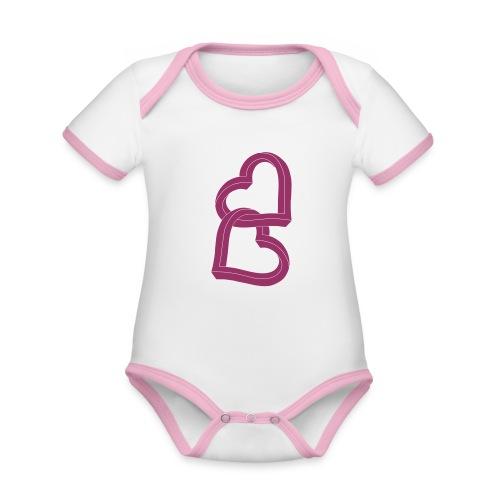 Due cuori uniti ca27 - Body da neonato a manica corta, ecologico e in contrasto cromatico
