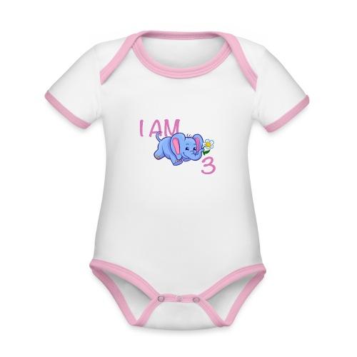 I am 3 - elephant pink - Organic Baby Contrasting Bodysuit