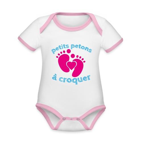 Petits petons à croquer - Petits pieds - Body Bébé bio contrasté manches courtes