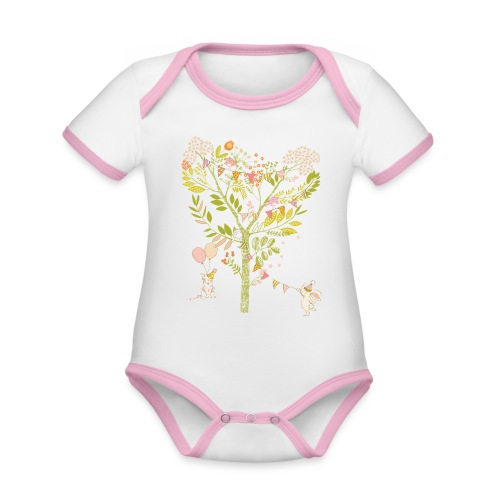 rabbit Party - Organic Baby Contrasting Bodysuit