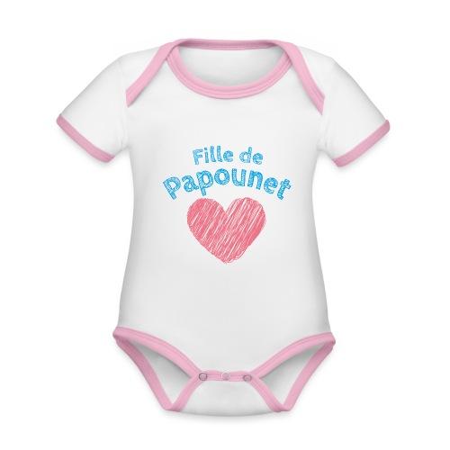 Fille de Papounet - Body Bébé bio contrasté manches courtes