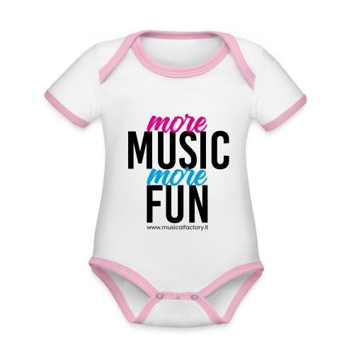 More Music More Fun - Body da neonato a manica corta, ecologico e in contrasto cromatico